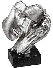 Lifestyle & More Exclusieve decoratieve buste sculptuur decoratieve figuur van kunststeen in zwart/zilver 17x23 cm