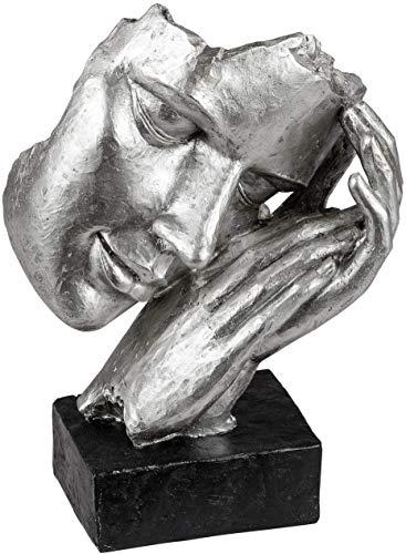 Lifestyle & More Exklusive Deko Büste Skulptur Dekofigur aus Kunststein in schwarz/Silber 17x23 cm