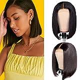 corto bob Peluca de cabello liso virgen Peluca 4x4 encaje frontal peluca Brasileña cabello humano con cabello color negro natural 10pulgadas