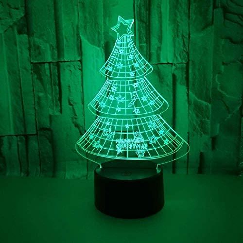 ZANYUYU Colorido degradado LED Árbol de Navidad 3D estéreo remoto USB lámpara de noche táctil mesita de noche creativa escritorio decorativo de cumpleaños 20 x 13 cm alto sabor