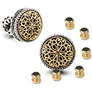 Men's Silver & 18K Gold Plated Round Whale Back Closure Cufflinks, for Wedding, Business with Gift Box