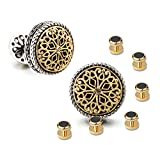 18K Gold Plated Cufflinks with 6 Shirt Studs Set for Tuxedo Shirt - Best Gifts for Men Wedding Business with Luxury Wooden Gift Box