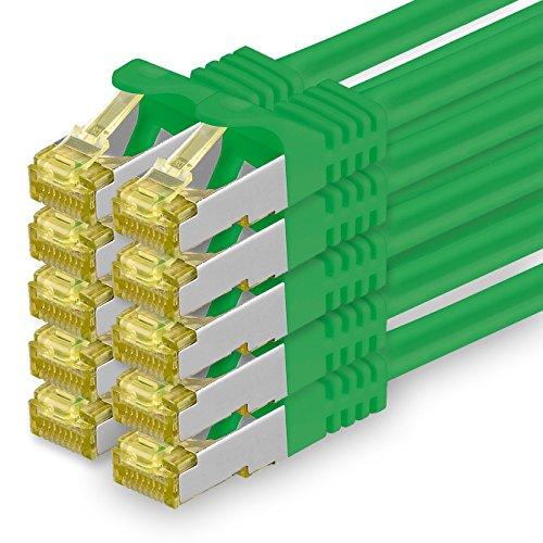 Cat.7 Netzwerkkabel 1m Grün 10 Stück Cat7 Ethernetkabel Netzwerk LAN Kabel Rohkabel 10 Gb s SFTP PIMF LSZH Set Patchkabel mit Rj 45 Stecker Cat.6a
