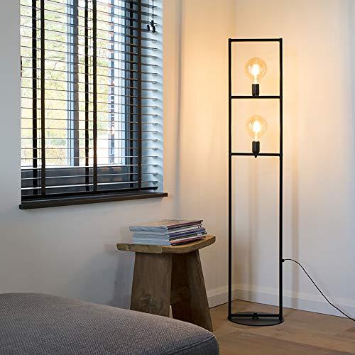 QAZQA Industrie/Industrial/Art Deco Industriestehlampe 2-Licht schwarz - Simple Cage/Innenbeleuchtung/Wohnzimmerlampe/Schlafzimmer Stahl Länglich LED geeignet E27 Max. 2 x 60 Watt