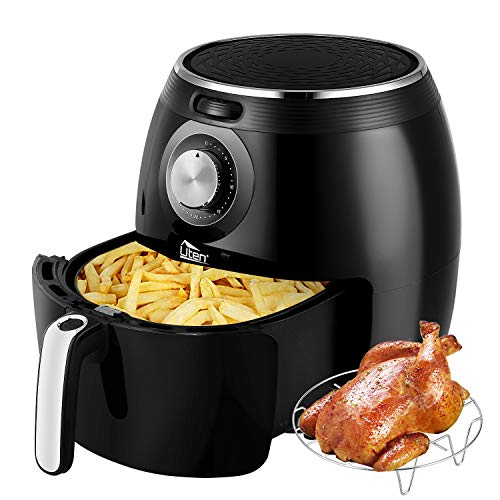 Uten Air Fryer XL, 5.8QT 1700W Electric Hot Air Fryer with Temperature Control & Timer Knob, Fast Oven Oilless Cooker with Grill Rack, Non Stick Fry Basket, Dishwasher Safe, UL Listed - Black