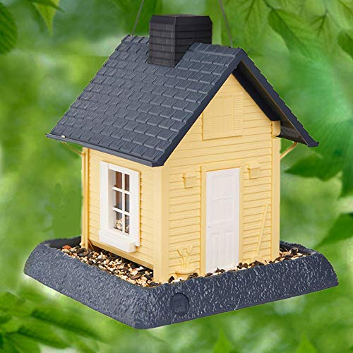 North States Village Collection Yellow Cottage Birdfeeder:Easy Fill amp CleanSquirrel Proof Hanging Cable included Pole Mountpole sold separatelyLarge5 pound Seed Capacity95 x 1025 x 11 Yellow