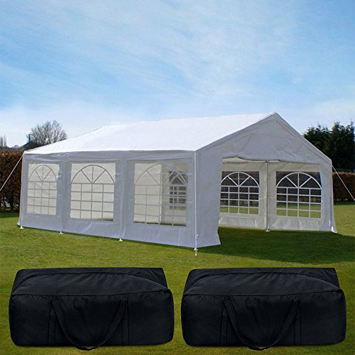 Quictent 20' x 20' Heavy Duty Outdoor Gazebo Party Wedding Tent Canopy Carport Shelter with 3 Carry Bags (20x20, White)