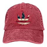 N \ A Marihuana Leaf Denim Gorra de béisbol Sombrero de Sol Personalizado Accesorios de Béisbol Mujeres Hombres Al Aire Libre Ajustable Casqueta Papá Sombrero Rojo