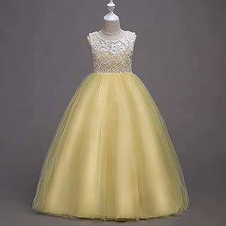 Luxury Summer Children's Clothing Princess Dress Embroidered Princess Tutu Skirt Flower Girl Dress Children Dress Buttons Wedding Dress ryq (Color : Yellow, Size : 130cm)