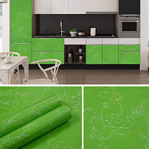 Dekorative Tapete Wandbild,Wasserdichtes Pfingstrosengrün Muster Möbel Überholte Aufkleber Kleiderschrank Tv-Schrank Selbstklebende Tapetenrolle Für Küche Wohnzimmer, 10M X 60Cm