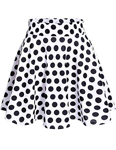 DRESSTELLS Damen Basic Solide Vielseitige Dehnbar Informell Mini Glocken Rock White Black Dot M