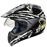 Studds Motocross D5 Off Road Full Face Helmet With Visor (Black and Grey, XL)