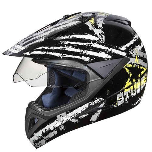 Studds Motocross D5 Helmet With Visor (Black N4, L)