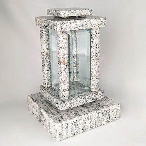 designgrab moderne Lampe Funéraire avec socle en granit viscont White/madanp Alli, pierre tombale Set