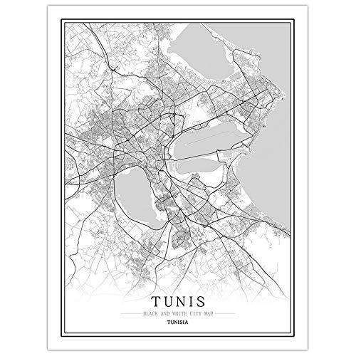 pgjremd Túnez Creativo Mapa De La Ciudad En Blanco Y Negro Arte De La Capital Póster Arte De La Pared Sin Marco40X60Cm C1323