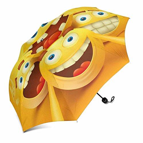 InterestPrint Gelb Smiley Emoji-Faces Zeichen Macht Selfie Faltbar Tragbar Outdoor Reise Kompakt Regenschirm (109,2cm)