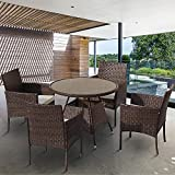 Rattan Dining Table and Chairs 4 Outdoor Rattan Furniture Set (Brown)