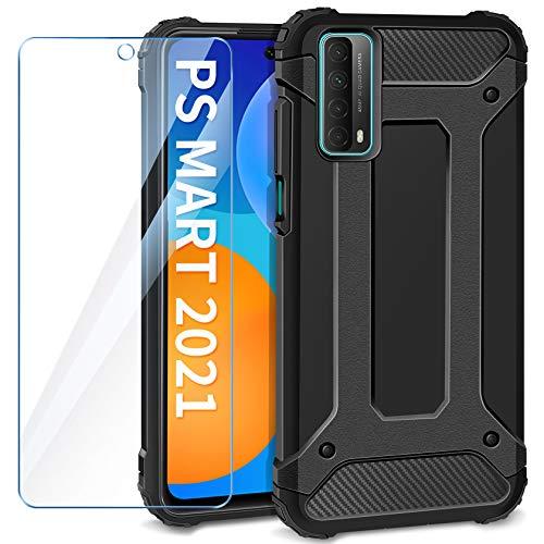 AROYI Funda Compatible con Huawei P Smart 2021 con Protectores Pantalla Cristal Templado, Robusta Carcasa Híbrida TPU y PC de Doble Capa Anti-arañazos Caso para Huawei P Smart 2021, Negro