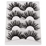 Pleell 25MM Lashes Pack Fluffy Long False Eyelashes Mink 3D Dramatic Criss-cross Eyelashes 4 Pairs