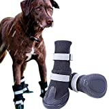 FLAdorepet Non-Slip Large Big Dog Sport Shoes Winter Waterproof Pet Dog Boots for Pitbull Golden Retriever (XL(3.2' 3.5'), Black)
