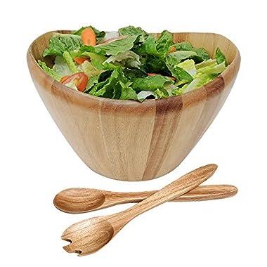 WELLAND 12  Diameter Curved Bowl Acacia Wood Salad Bowls Salad Servers Set (style 2)