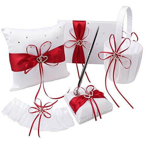 OurWarm 1 Wedding Guest Book + 1 Pen Set + 1 Flower Girl Basket + 1 Ring Bearer Pillow + 1 Garter White Cover, Decor Red Ribbon Bowknot Double Heart Diamante Rhinestone Buckle Wedding Party Favor