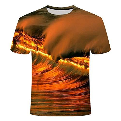 GHRFZC - Camisetas unisex de manga corta con impresión 3D, unisex, para hombres y mujeres, geometría abstracta moderna de olas marinas bajo el atardecer O-cuello tops camisetas, xxx-large