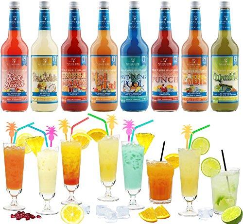 Cocktail Mix Set für 130 fertige Cocktails mit Alkohol | 8 x 0,7l Premix mit allen Zutaten | Einfach Saft & Eis auffüllen