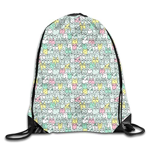 show best Bright Cats Pattern Scale Drawstring Gym Bag for Women and Men Polyester Gym Sack String Backpack for Sport Workout, School, Travel, Books 14.17 X 16.9 inch