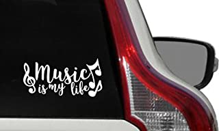 Music Is My Life Curly Text Car Vinyl Sticker Decal Bumper Sticker for Auto Cars Trucks Windshield Custom Walls Windows Ipad Macbook Laptop Home and More (White)