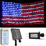ubrand American Flag LED Net Lights - Waterproof Twinkle String Lights Outdoor String Hanging Lights with Solar Panels for Wall Decor 390 Led Lamp Beads (Plug in& Solar Panels)