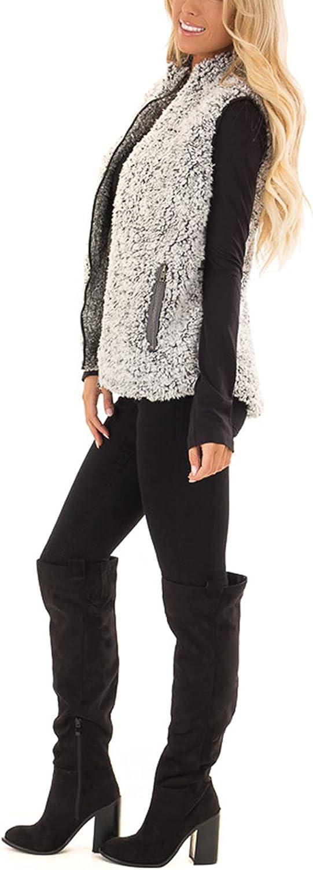 MEROKEETY Women's Casual Sherpa Fleece Lightweight Fall Warm Zipper Vest Outwear