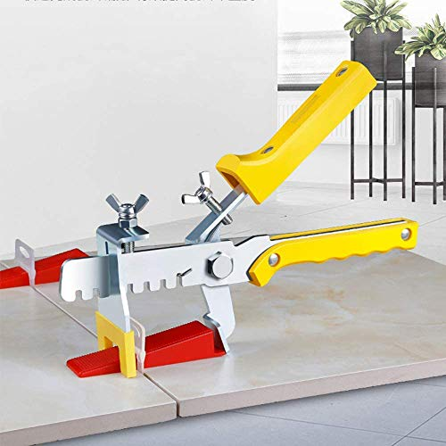 Tegel Leveling Systeem Tegels Leveler Spacers Professionele Keramische Tegel en Steen Installatie 300-Stuk Leveling Spacer Clips Plus 100-Stuk Herbruikbare Wiggen en Pliers (1/18 Inch)