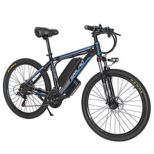 C6 Bici Elettrica 1000w Mountain Bike, 26' E Bike Bici Elettrica 21 velocità, Fino a 45 km con Batteria Rimovibile Agli ioni di Litio da 48V 13Ah(EU Warehouse),blue