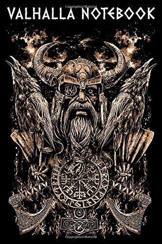 VALHALLA NOTEBOOK: Odin with Huginn and Muninn Portrait Viking Axe and a Vegvisir - 120 Pages College Line Ruled Urnes Style Notebook