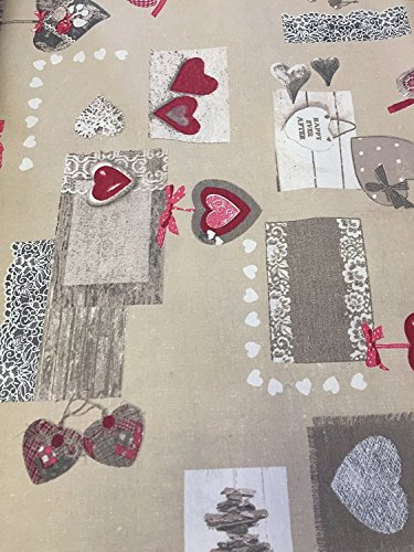 Euronovità Srl Telo arredo Colore Shabby cuoricino Rosso copridivano copriletto copritutto 270x280 cm in Cotone granfoulard 100% Made in Italy Produzione Propria EURONOVITA'