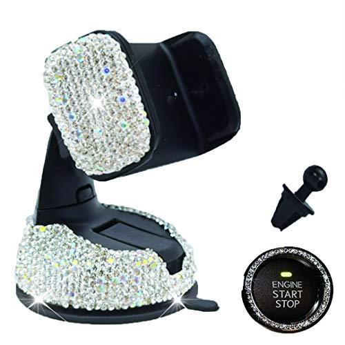 Bling - Soporte universal para teléfono de coche con cristales de estrás para decoración interior de coche, con soporte de ventilación para parabrisas de salpicadero, color plateado