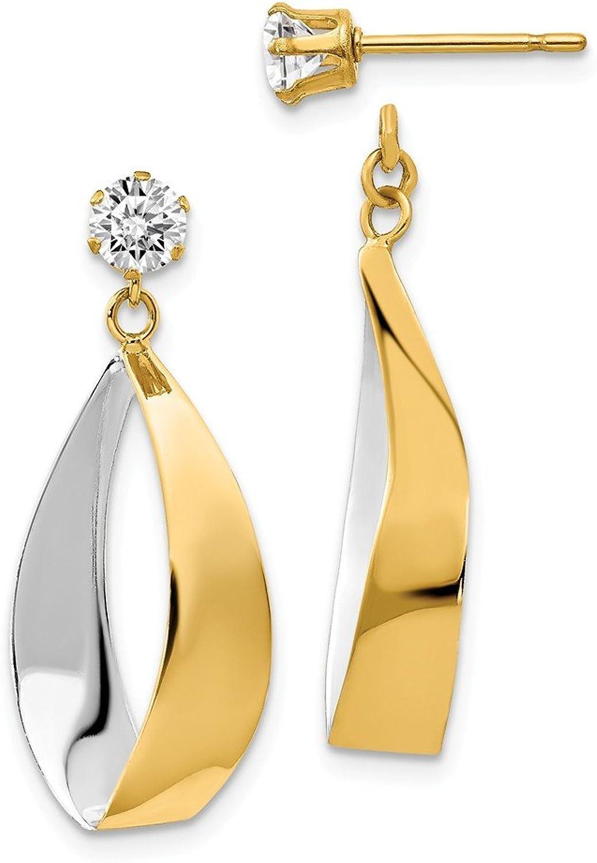 Beautiful Yellow gold 14K Yellowgold 14k Oval Dangle Jacket w Rhodium and CZ Earrings