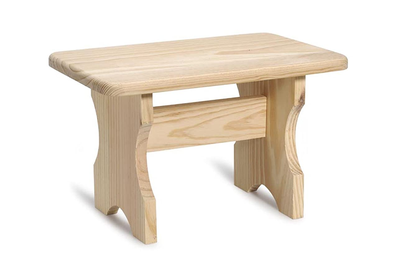 "Darice Unfinished Wood Stool – Unfinished Pinewood Can Be Painted, Stained and Embellished - Decorate to Match Kitchen, Living Room, Bathroom, Nursery Décor – Trestle Design, 11.25""x8.75""x7.5"""