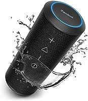 Zamkol Bluetoothスピーカー 20時間再生 24W 360°サウンド IPX6防水 デュアルドライバー 低音強化 ワイヤレスステレオペアリング対応 DSP処理 マイク内蔵 USB充電 (ブラック)