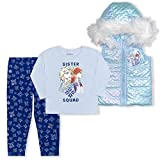 Disney Frozen Girl's 3-Piece Sister Squad Fur Hooded Vest Set with Legging Pants and Long Sleeve Shirt, Blue, Size 5T