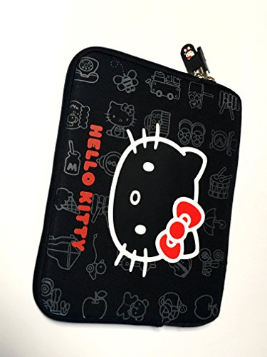 Hello Kitty Bag Protective Sleeve Case for Ipad 2 3 4 / iPad Air / iPad Air2 Google Nexus Hp Touchpad Motorola Xoom, Smasung Galaxy Tab 10.1V, and any 10.1inch or less Tablet (BLACK)