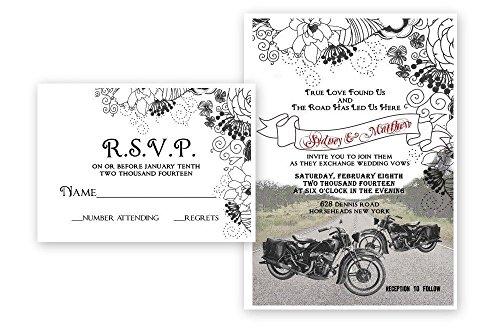 Motorcycle Bike Wedding Invitations & Response Cards Bridal Custom