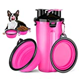 HETH Dog Travel Water Bottle, 2 in 1 Portable Dog Water Dispenser and Food Container with 2 Collapsible Bowls for Your Pets Walking and Traveling (Rose Red)