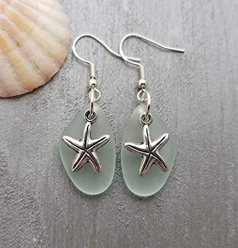 Handmade in Hawaii, seafoam'Twin Starfish' sea glass earrings, starfish charm, (Hawaii Gift Wrapped, Customizable Gift Message)