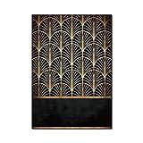 Hbao 2021 Modernos Minimalistas Lujo Retro Negro en forma de abanico Geométrico Cocina Sala Dormitorio Mesilla de noche Alfombras de piso (Tamaño: 100 x 150 cm)