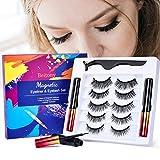 beitony 5 Paia Ciglia Magnetiche Eyeliner Ciglia Finte Magnetiche Naturali Kit Lunga Durata Impermeabile Riutilizzabili Nessuna Colla, Nero