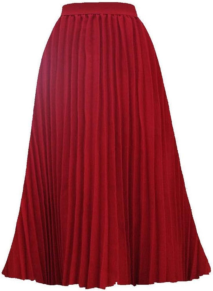Womens Summer Casual Elastic High Waist Maxi Hem Midi Long Pleated Chiffon Skirt