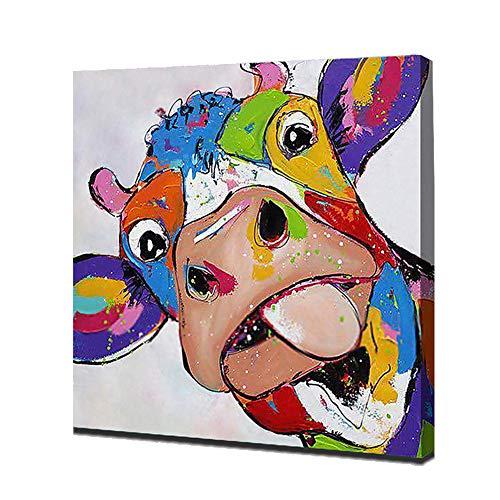 Enweonga koe met tong buiten op canvas, handbeschilderd doek, karikatuur, olieverfschilderij voor kamer, wanddecoratie, kunst, 28 x 28 inch (70 x 70 cm)