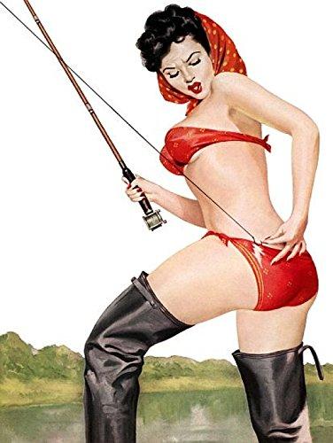 The Poster Corp Pin Up Art Brunette Beauty In Red Bikini Kunstdruck (60,96 x 91,44 cm)